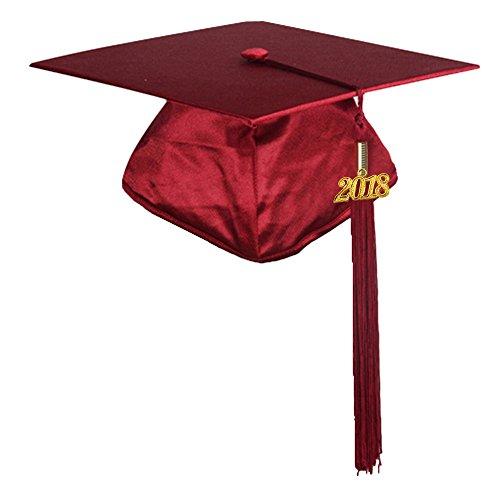 Maroon Kids Hat - GraduationMall Shiny Finish Kindergarten Graduation Cap with Tassel Year Charm 2018 Maroon