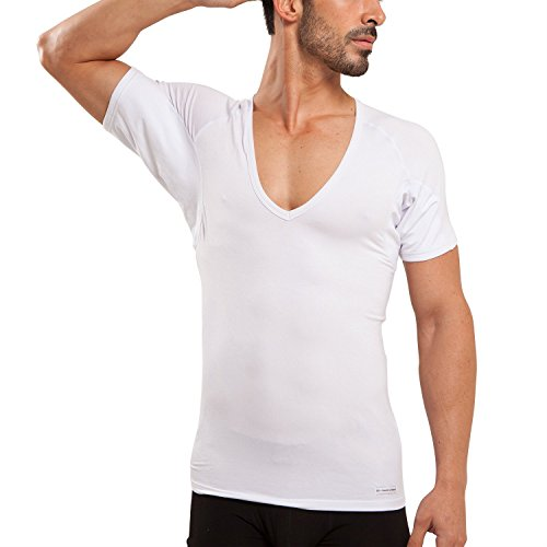 Deep V-neck Undershirt (Ejis Men's Sweat Proof Undershirt, Deep V Neck, Antimicrobial Silver, Micro Modal, Sweat Pads (Large, White))