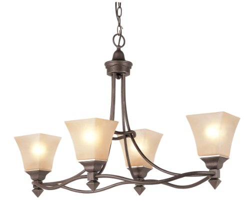 Trans Globe Metal Chandelier - Trans Globe Lighting 70234 Rustic Tea Branch Four Light Chandelier, 16