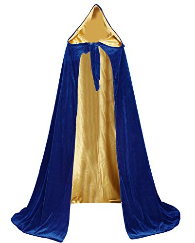 LuckyMjmy Velvet Renaissance Medieval Cloak Cape lined with Satin (Large, Royal Blue-Gold)]()