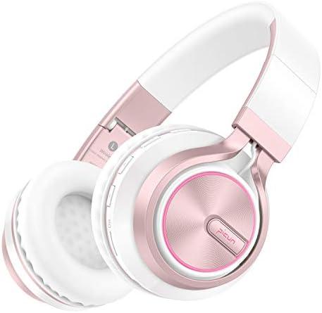 Picun Wireless Headphones Girls Romantic LED Bluetooth V5.0 Headphones, Hifi Bass Foldbale Headset with HD Mic, Soft Earmuff, Wired & TF Mode for Kids Women