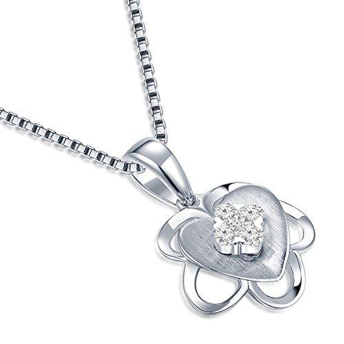 Or blanc 18ct 750avec diamant Cœur et de prune Fleur Pendentif Collier en argent sterling 925Chaîne de 40,6cm/40cm (0.09CT, G-H Couleur, Vs2-si1Clarté) Femme Bijoux Cadeau