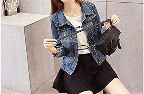 Fit Elegante Grazioso Donna Con Outerwear Perline Tasche Button Slim Jacket Hipster Fashion Autunno Blu Di Giacche Denim Cappotto Jeans Marca Primaverile Manica Mode Lunga w1WqFX1n