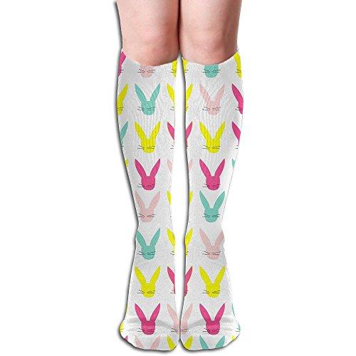 Colorful Easter Bunny Unisex Compression Socks Crew Socks Athletic Socks Knee High Socks For Travel