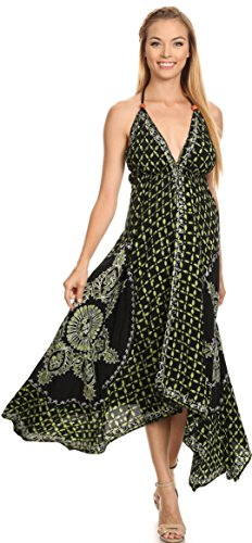 c52ac7b9dfe Sakkas 1456 - Shana Batik Embroidered Handkerchief Hem Adjustable Halter  Dress - Black Green -