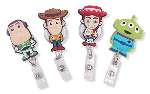 Finex Set of 4 Toy Story Retractable Badge Holder ID Badge Reel Clip On Card Holders - Buzz Lightyear Woody Jessie Green -