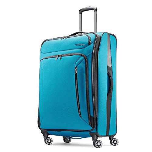 American Tourister Zoom Softside Luggage, Teal Blue, Checked-Large