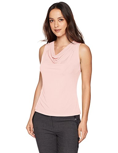 Calvin Klein Women's Petite Solid Drape Neck Cami, Baby Pink, PL