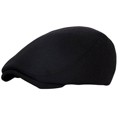 Hosaire Chapeau de Cotton Vintag Béret Chapeau Unisexe Réglable Anti-soleil Chapeau Homme Magnifique Casquette Plate Pour Voyage Loisir Noir