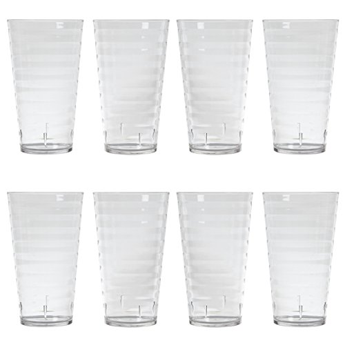 - Splash 18-ounce Clear Plastic Tumblers | set of 8