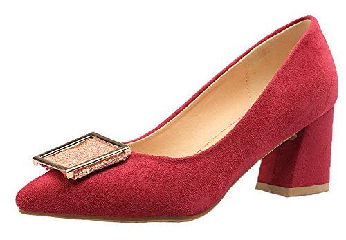 b41ee47b69d996 AgooLar Damen Nubukleder Ziehen auf Schließen Zehe Mittler Absatz Pumps  Schuhe Rot