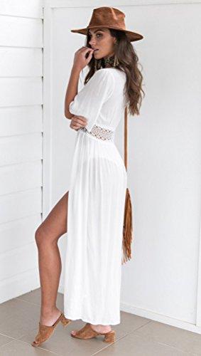 da Casual Moda Spiaggia Donna Lungo Vestito Bohemian Abito Estivo Elegante Sentao Bianca Retro 4RSwq6