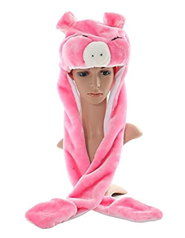 Tonwhar Cartoon Animal Hood Hoodie Hat with Attached Scarf and Mittens (Cartoon Pig-pink) - Pink Pig Hat