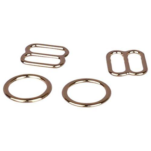 Slide Gold Ring - Porcelynne Gold Metal Alloy Replacement Bra Strap Slide and Ring Set - 1/4