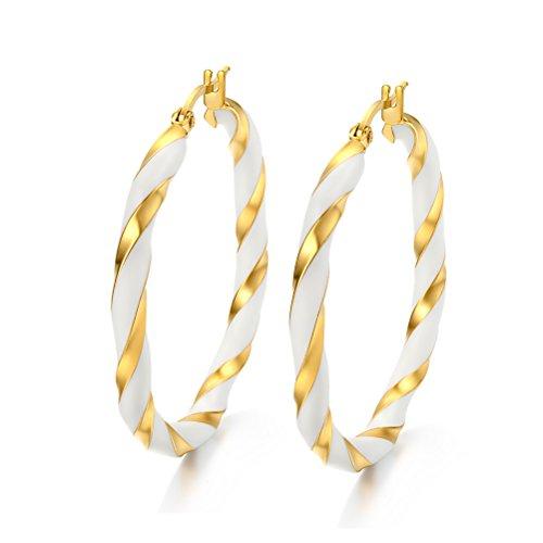 Women Stainless Steel Hoop Earring 18k Gold Plated,Filigree Enamel Two Tone Twist,Click-Top