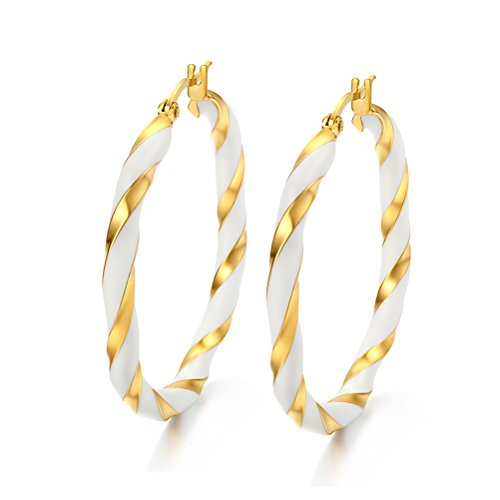 Plated White Enamel - Women Stainless Steel Hoop Earring 18k Gold Plated,Filigree Enamel Two Tone Twist,Click-Top