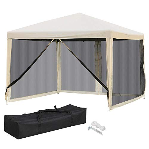 Yaheetech 10x10 Pop Up Canopy Tent - Instant Sun Shelter with Mesh Sidewalls 2 Zipper Doors and Carry Bag for Outdoor/Garden/Camping/Patio ()