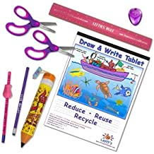 Left-handed School Supplies (Scissors, Pencils, Ruler and More) for Kids Under 8, 9 Pc Set; Pink/purple