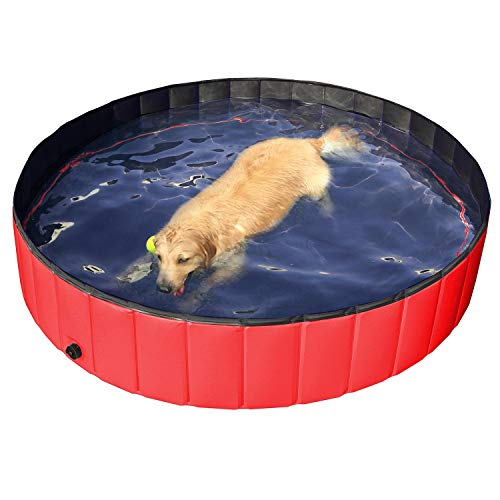 Yaheetech Foldable Pet Bath Pool Collapsible Large Dog Pet Pool Bathing Swimming Tub Kiddie Pool for Dogs Cats and Kids(63inch.D x 12inch. H, Red)]()