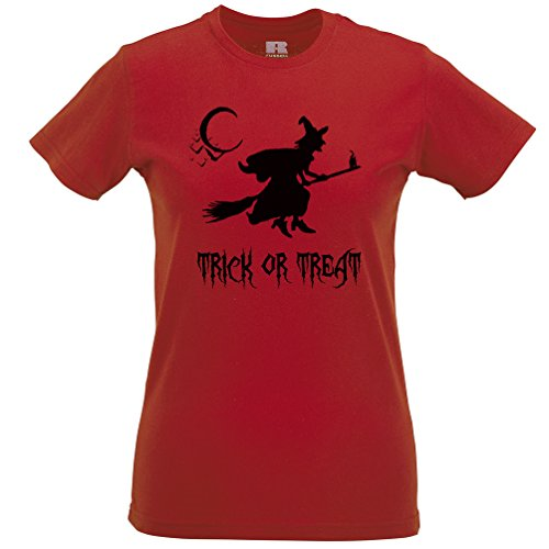 [Witch On A Broomstick Trick Or Treat Halloween Scary Costume Monster Womens T-Shirt] (College Girls Group Halloween Costumes)