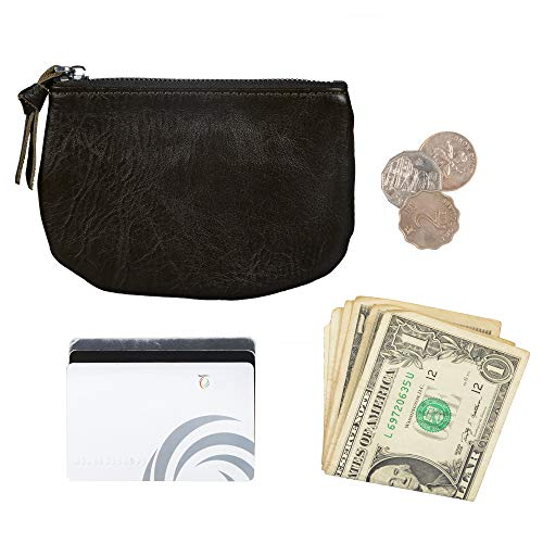 Befen Women Full Grain Leather Tripple Zip Crossbody Bag Crossbody Cell Phone Wallet Purse Bag Phone Wristlet (Black Olive Coin Purse) by befen (Image #1)