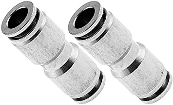 Vixen Air Push to Connect Bundle of Two Fittings VXA8238-2 PTC Union//Joint Straight Pneumatic Fitting for 3//8 OD Hoses