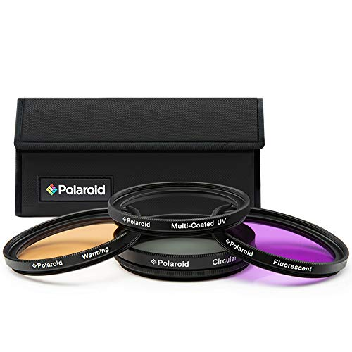 Polaroid Optics 62mm 4-Piece Filter Kit Set [UV,CPL, Warming,& FLD] includes Nylon Carry Case – Compatible w/ All Popular Camera Lens Models