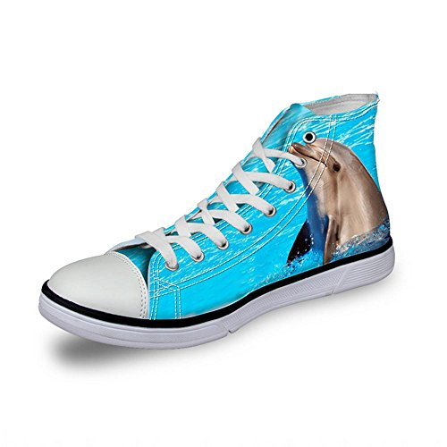 NSX Top Lace Scarpe 35 005 Athletic 3D donne Canvas Casual delle Up 38 Punta 008 Printing Flats rotonda Skate High Y6UqXYrw
