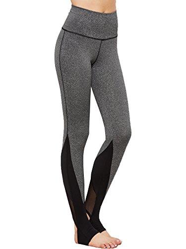 SweatyRocks Leggings Women Crisscross Stirrup Tights Gym Yoga Workout Pants (Medium, Heather Grey) Ladies Stirrup