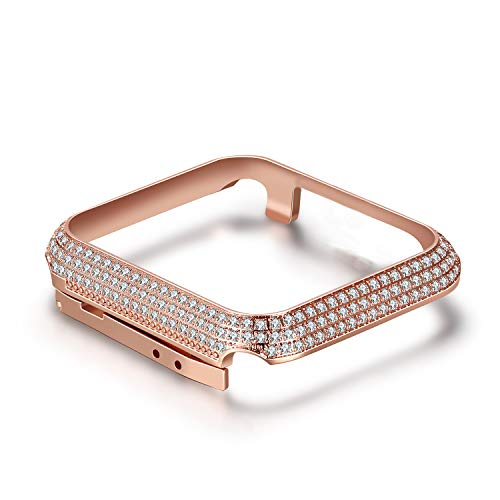 Diamond Bling Cover Rhinestone (HandyGear Diamond Case Cover Compatible with Apple Watch 44mm, Luxury Classy Bling Crystal Rhinestone Diamonds Bezel Protective Metal Case for iWatch Apple Watch Series 4 (44mm BD Rose Gold Case))