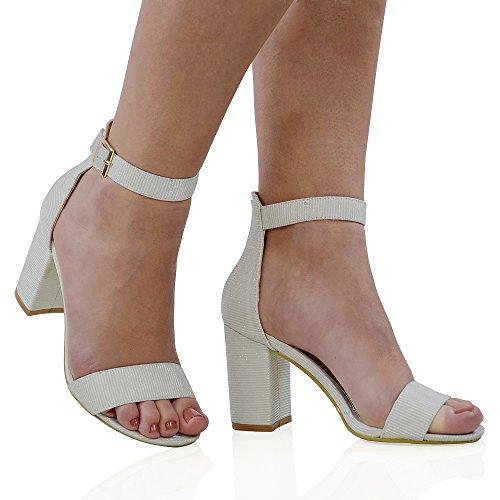 ESSEX GLAM Damen Mittlerer Absatz Schuhe Riemchen Zehnfrei Glitzer Knöchelriemen Sandalen Weiß Glitzer