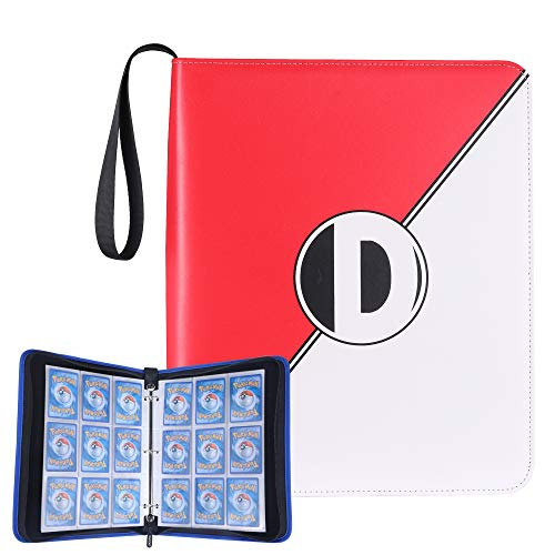 D DACCKIT Carrying Case Binder Compatible with Pokemon Cards, Trading Cards Collectors Album with 50 Premium 9-Pocket Pages, Holds Up to 900 Cards(Red and White)