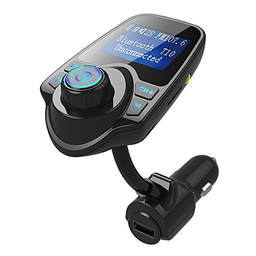 drunkilk Wireless In-Car Bluetooth FM Transmitter Radio Adapter Car Kit W 1.44 Inch LCD Display Supports TF/SD Card Slot USB Car Charger for Smartphones (Black)