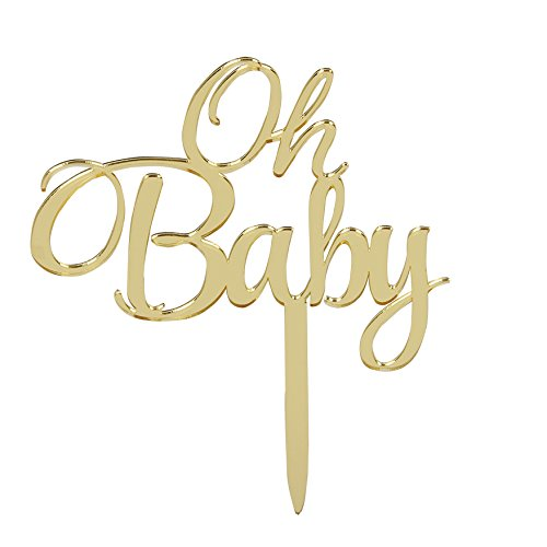 LOVELY BITON Mirrored Gold Oh Baby Cake Topper Banner for Parties Baby Birthdays