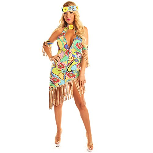 Cool Teenage Girl Halloween Costumes (Disiao Womens Hippie Hipster Costume Dress Halloween Suits Cosplay Large)