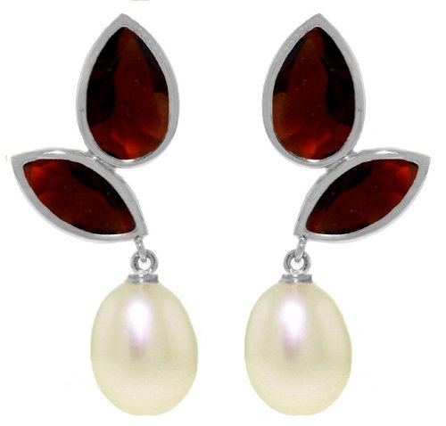 14k White Gold Chandeliers Earring with Pearls and Garnets ()