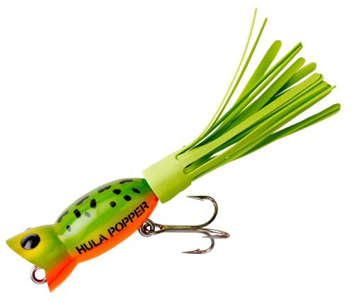 [Arbogast Hula Popper Fishing Lure, Frog Yellow Belly and Chartreuse Skirt, 2 1/4-Inch] (Fish Hula Popper)