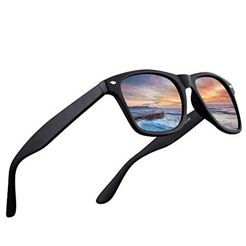LR Polarized 80's Retro Classic Trendy Stylish Sunglasses for Men Women 53mm NCS004 (Matt Black/G15 lens)
