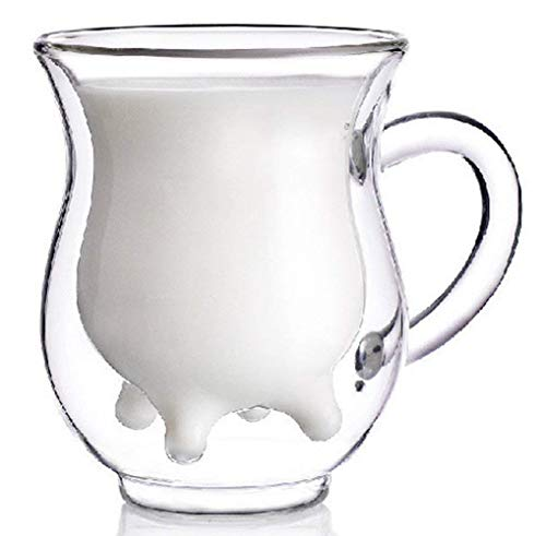 Teemall Handcraft Borosilicate Glass Cup - Cute Calf and Half Transparent Heat-resisting & Double-layer Cow Milk Cup - Milk Creamer Pitcher 250ml - Pitcher Cow Creamer