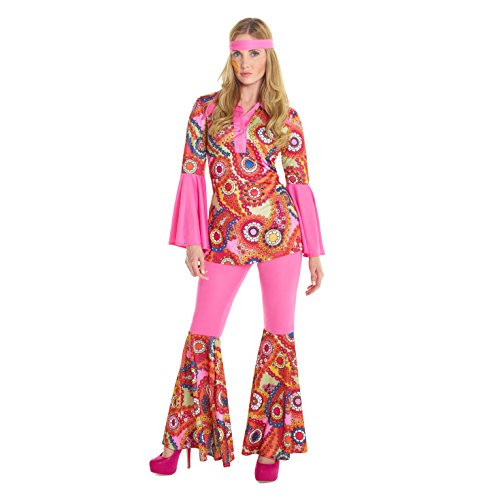 Womens 1960s Hippie Flower Child Peace Love Costume (Flower Child Halloween Costume)