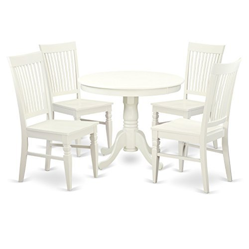 East West Furniture ANWE5-LWH-W 5 PC Set with One Table & 4