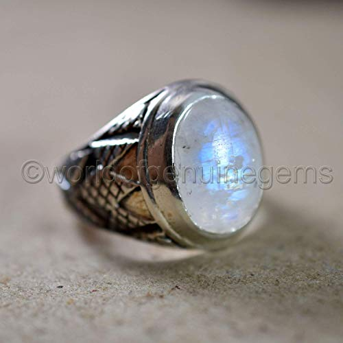 blue fire natural moonstone ring, celtic designer oxidized silver men's ring, cabochon moonstone ring, 925 stamped jewelry, men's solid 92.5% sterling silver ring, rainbow moonstone man's ring