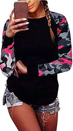 Hot Fall Camo (Women Camouflage Fall Long Sleeve Shirt Casual Blouse Tops Sweatshirt T-Shirt (X-Large, Hot Pink))