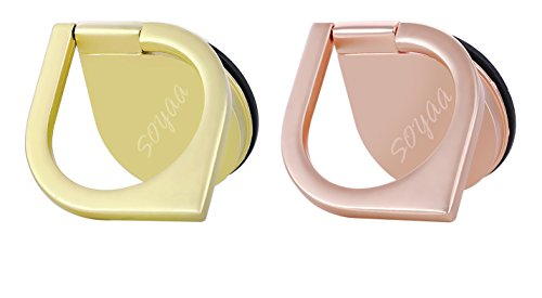Phone Holder SOYAA 2Pack Finger Ring Stand Water Drop Shape Zinc Alloy 360°C Rotation Cellphone Holder Car Mount Universal Use for Mobilephones and Tablets (Rose+Gold) Image