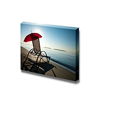 Canvas Prints Wall Art - Tranquil Mediterranean Morning Beach with Red Umbrella and Chair - 16