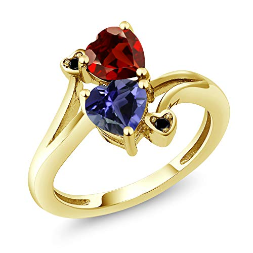 Gem Stone King 1.51 Ct Heart Shape Red Garnet Blue Iolite 18K Yellow Gold Plated Silver Ring (Size 6)