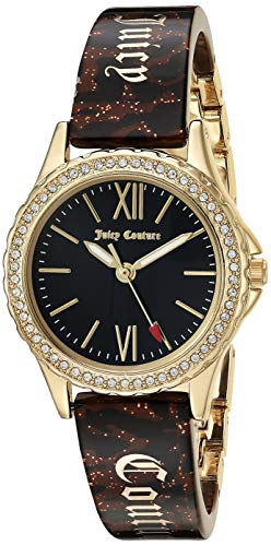 - Juicy Couture Black Label Women's  Swarovski Crystal Accented Gold-Tone and Brown Zebra Resin Bangle Watch