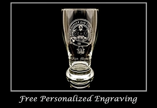 Clan Murray Scottish Crest Pint Glass Set of 4 - Free Personalized Engraving, Family Crest, Pub Glass, Beer Glass, Custom Beer Glass by LyonCraft (Image #1)