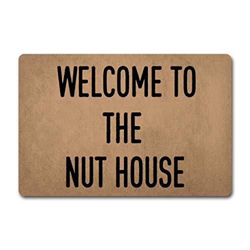 (ZiQing Funny Doormat Entrance Mat Welcome to The Nut House Doormat-Indoor Outdoor Decoration Door Mat 23.6 x15.7 Inch)