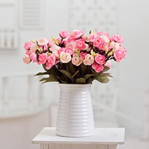 Situmi Artificial Fake Flowers Minimalist Rose and Pink Modern Camellia Home Accessories 47